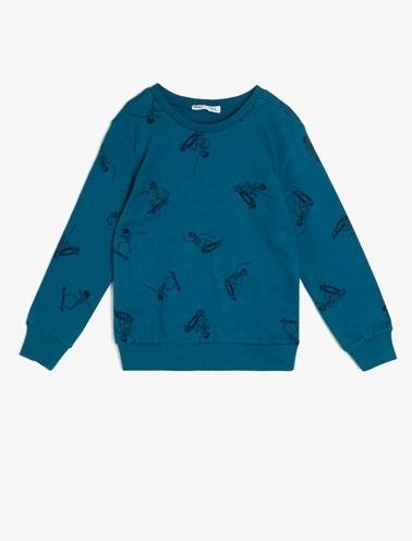 Koton Kids Desenli Sweatshirt Yeşil